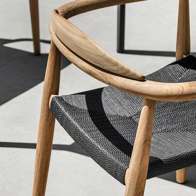 detail of gloster's woven outdoor textilene rope in color flintimage provided courtesy of gloster furniture, inc.