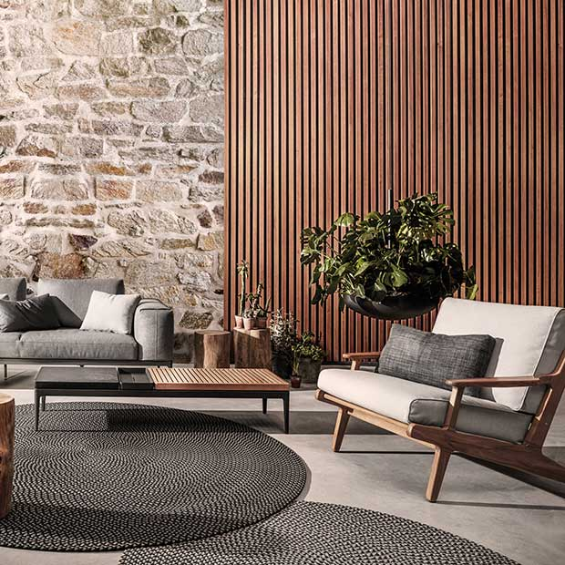 mix & match: gloster grid (left) harmonizes well with gloster bay (right)image provided courtesy of gloster furniture, inc.