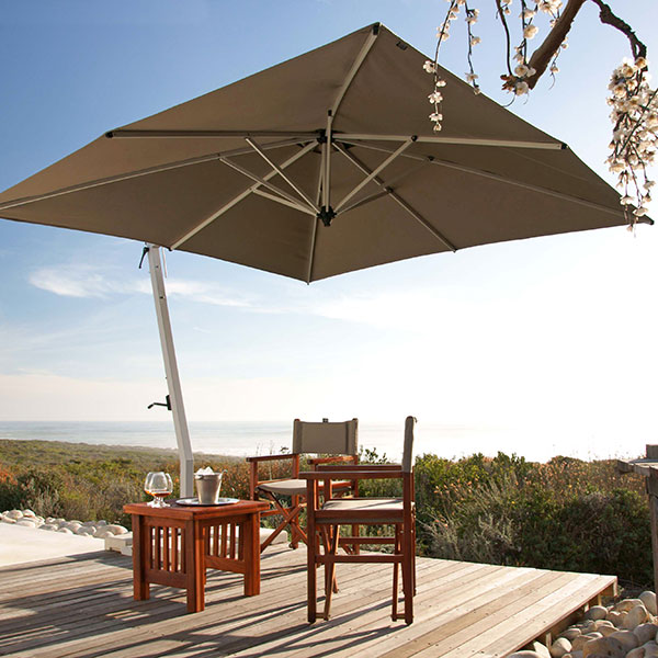 spacious shade: 9.8' picollo square cantilever umbrella with sunbrella heather beige canopy