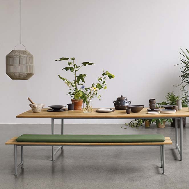 """115"""" atmosphere dining table with 84"""" bench with cushionimage provided courtesy of gloster furniture, inc."""