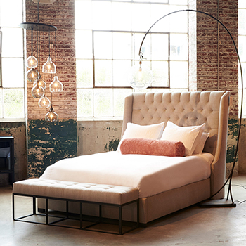 lillian bed paired with the cruz bench at the foot