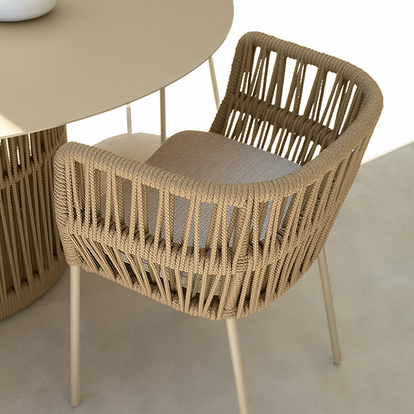 close-up: double-braided rope in two color choices is what makes cliff stand out from contemporary outdoor dining furniture (color: beige)