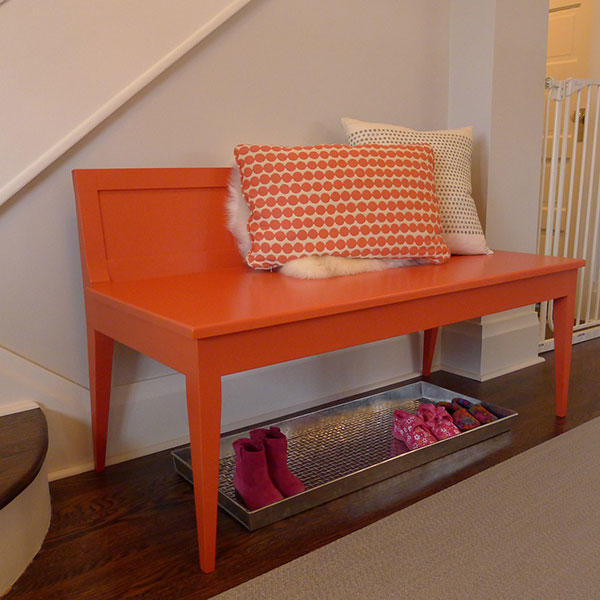 maple bench in a custom paint color