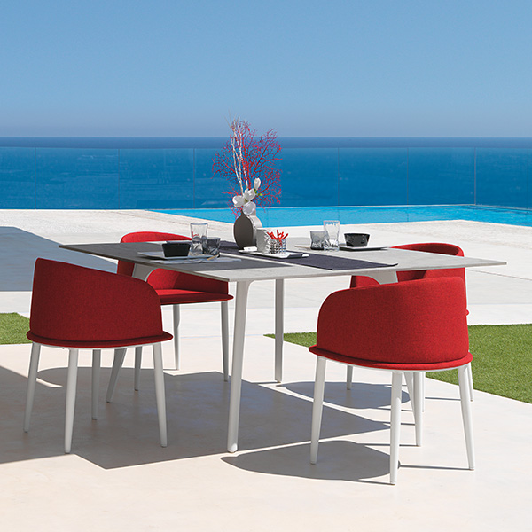 """splash of color: four cleo padded tub chairs in red paired with 59"""" square dining table (frame white 