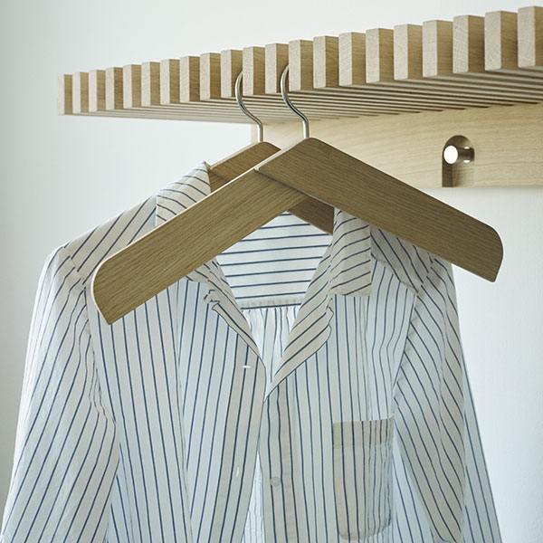 clean look: cutter wardrobe with cutter collar coat hangers (oak & stainless steel)