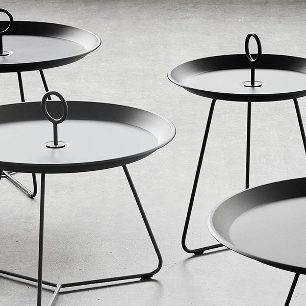 different dimensions, different heights: eyelet tray table (powder-coated metal, black)