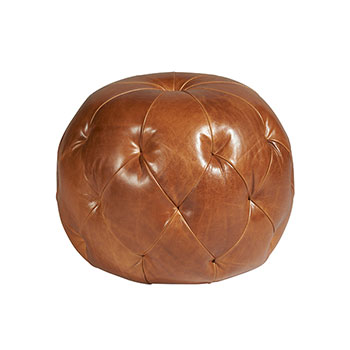 pouf in all leather upholstery