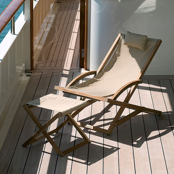 sit down, legs up and relax: beacher relax chair and footrest in ecru sling (textile or batyline)