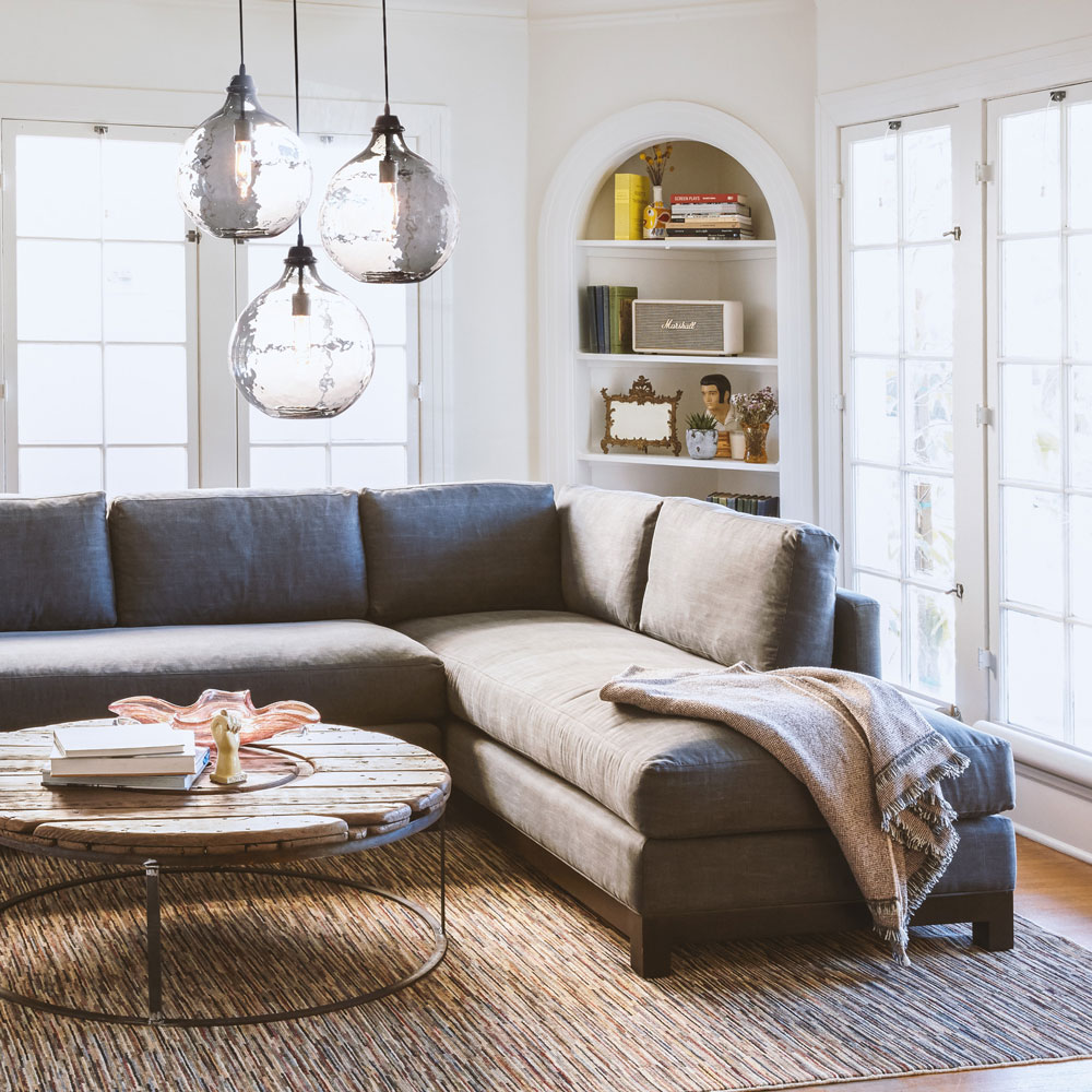 cosmo sectional in naoki gravel (throw not included)