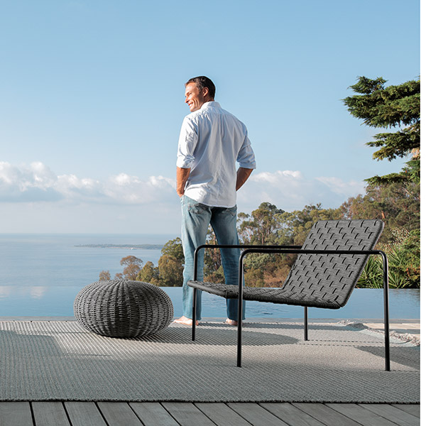 sit down and relax: two jackie living armchairs (to the left   rope finish light grey and dove)   jackie living armchair and pouf (to the right   frame graphite/ rope dark grey)