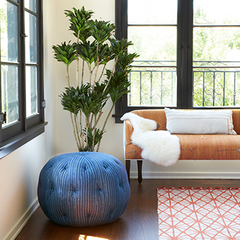 """splash of color: cisco brothers' 20"""" pouf round ottoman in bengal pin stripe fabric by maurishka pinedo"""