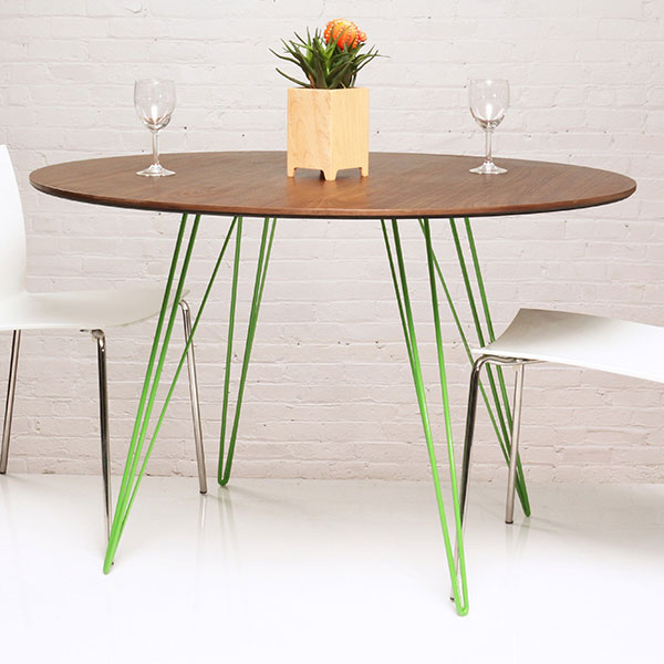 """sidney 46"""" circular dining table (walnut top) with green powder-coated steel legs"""