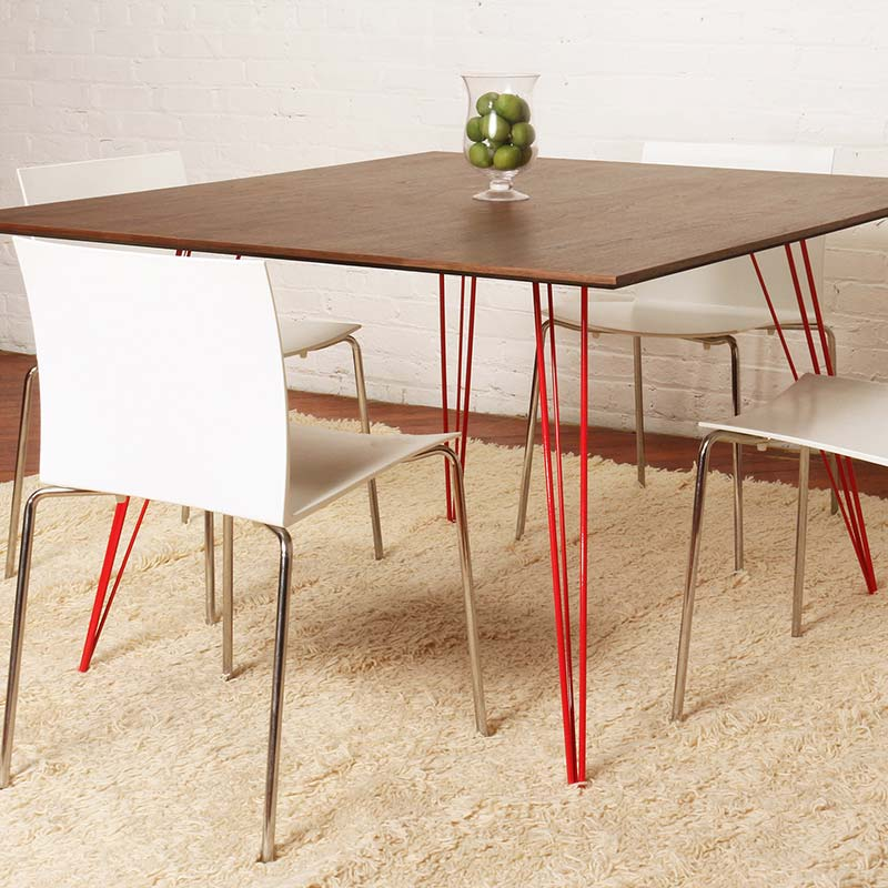 """sidney rectangular 46"""" dining table with walnut top and powder-coated red steel legs"""