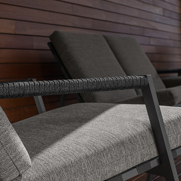 close-up: rope arm accent on cottage seating