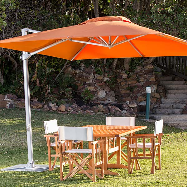 bring color into your garden: 9.8' pavone square foldaway cantilever umbrella with sunbrella canopy in tuscany