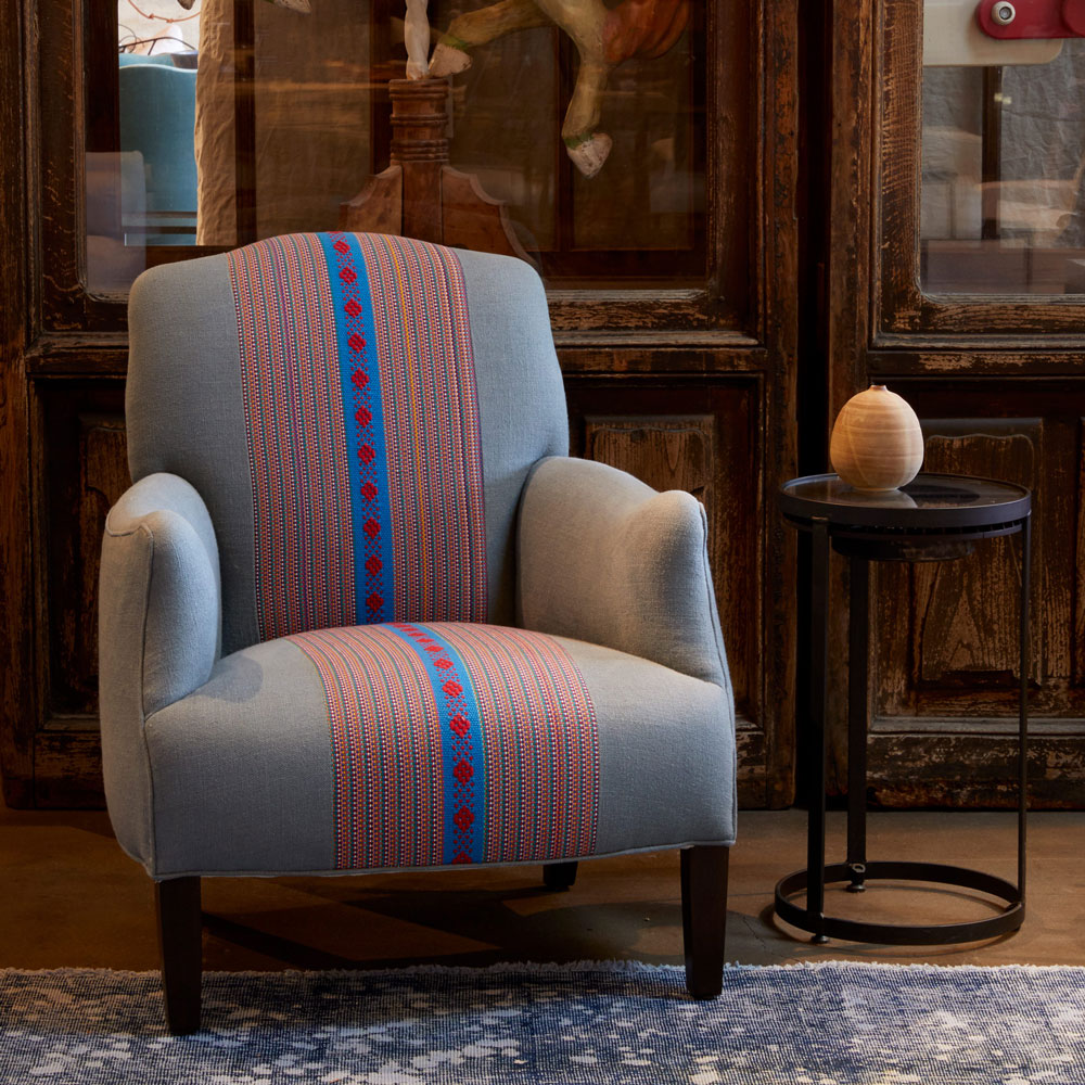 remi chair upholstered in special order familia florencia fabric