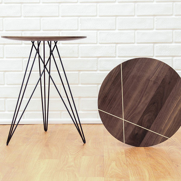 "attractive even when lying on its side: hubbard 18"" side table in walnut with maple inlay and black metal legs"