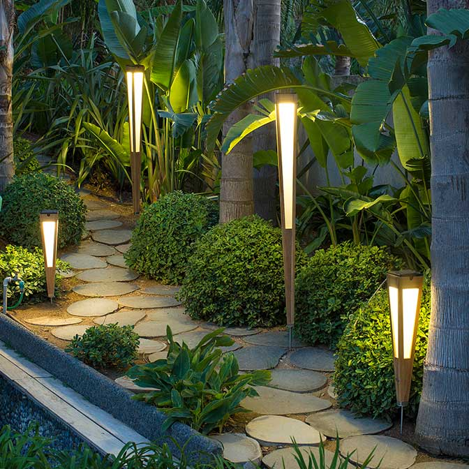sustainable garden lights to illuminate your pathway: lanai solar lanterns in natural teak and two sizes