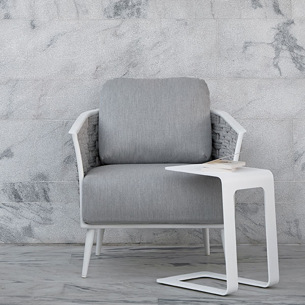 """all you need: cascade 1-seater with manutti's 17"""" open side table in white"""