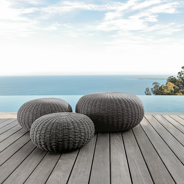 poufs like pebbles: jackie small, medium and big pouf in dark grey nautical rope with quick-dry foam padding