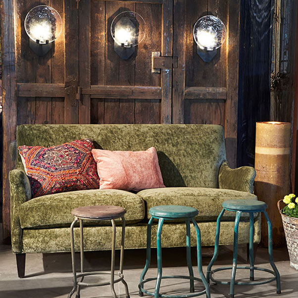 soft statement: tribeca loveseat in JD velluto olive fabric (throw pillows not included!)