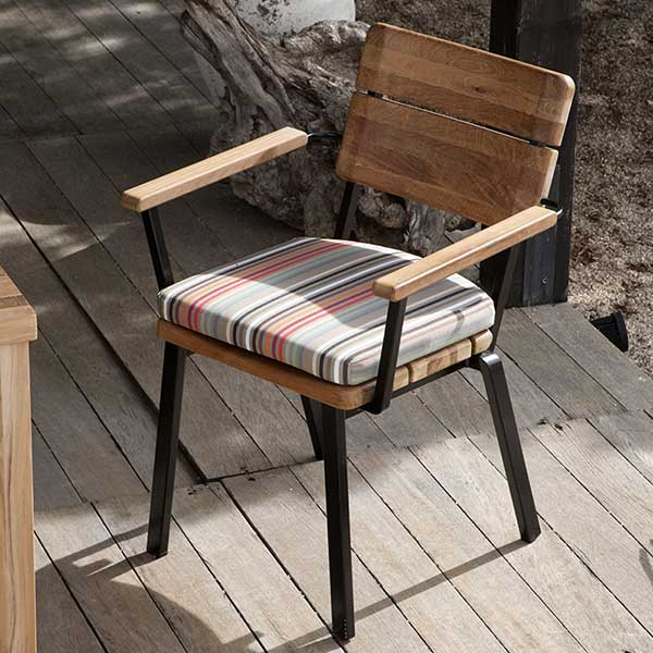 solitary beauty: titan rustic dining armchair (rustic teak and aluminum; stackable)