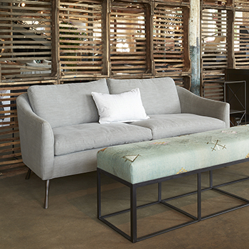 footrest or coffee table: cruz bench with COM fabric (customized: non-tufted)
