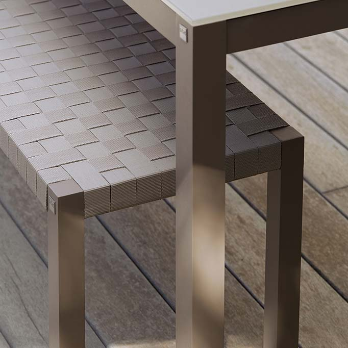 detail: criss-cross woven textylene straps used on pheniks seats and backs