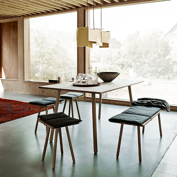 minimalist dining: georg dining table with three stools and the dining bench (cushions included)
