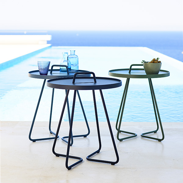 "mingling: three on-the-move 17"" round side tables/ small (l-r: dusty blue, midnight blue, olive green)"