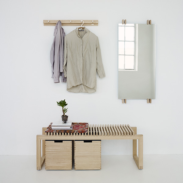 first impressions: the first thing your guests will see when they come to visit—cutter bench and two large boxes underneath (all oak)