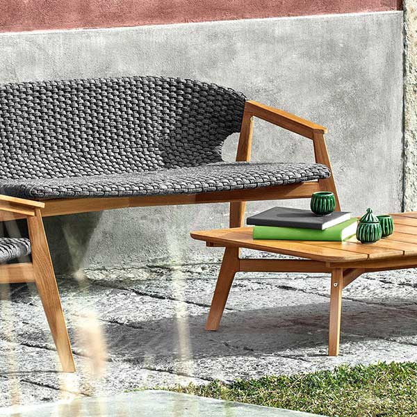 "garden terrace: 2-seater sofa, lounge armchair with 55"" rectangular coffee table"
