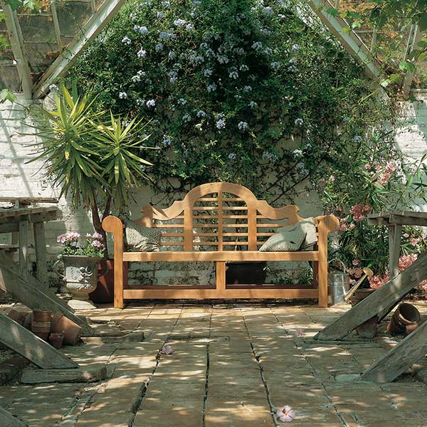 """enhancing any garden setting: sissinghurst 77"""" bench from barlow tyrie (throw pillows not included)"""