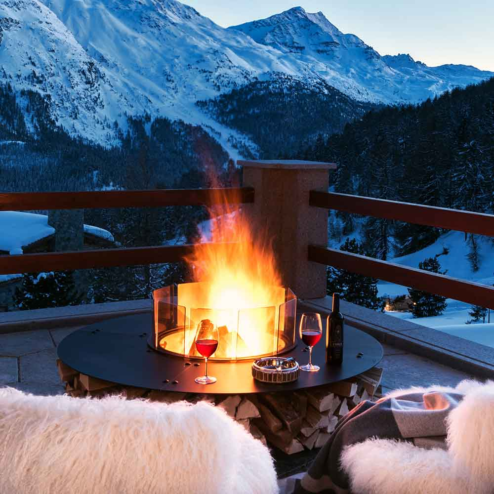 for cold evenings at the the mountain: zero small wood burning fire pit