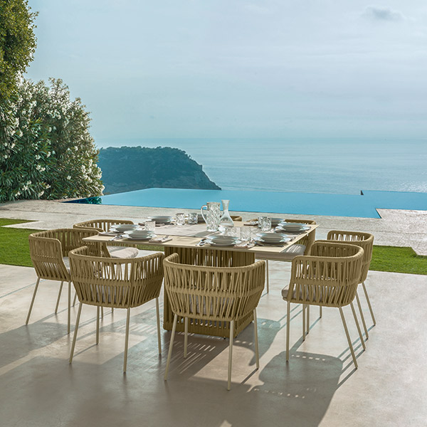 """dining in style: eight cliff dining armchairs enveloping cliff 59"""" square dining table (color: beige)"""