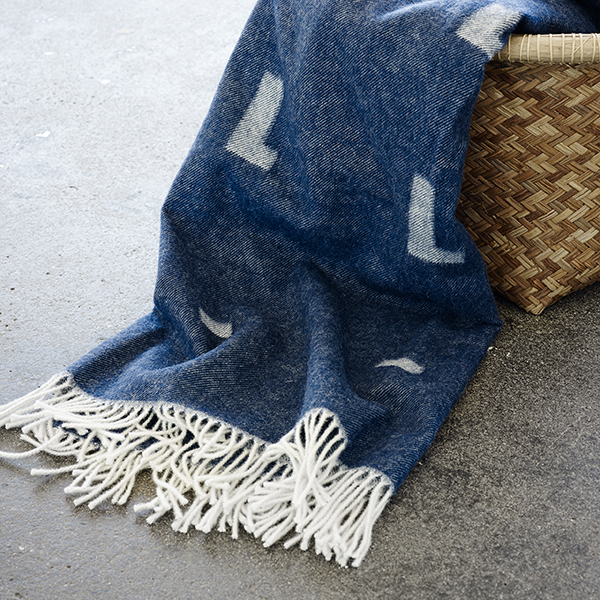 danish design: iota wool blanket in royal blue