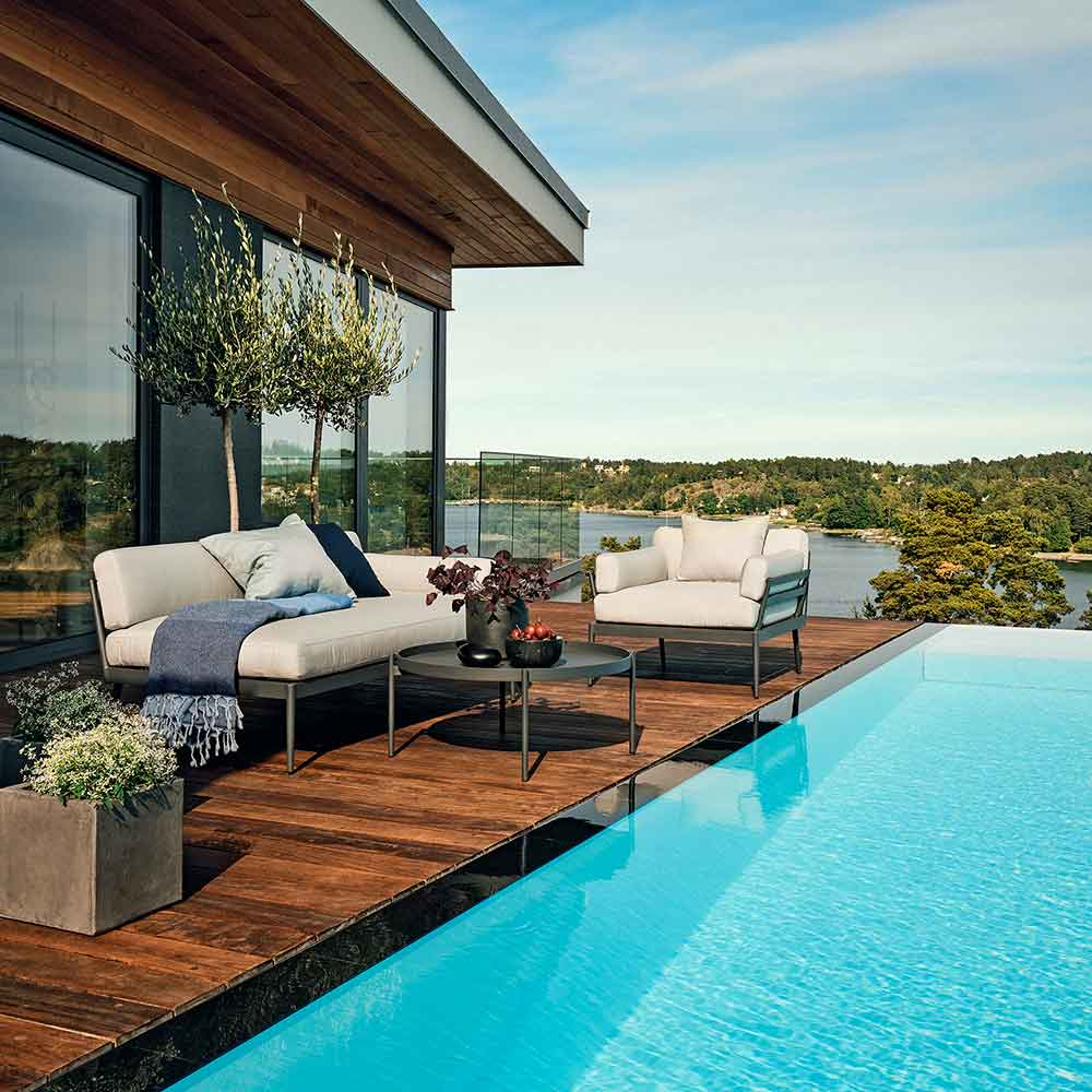 """poolside: anholt left-arm chaise, lounge chair and salto 33"""" lounge table"""