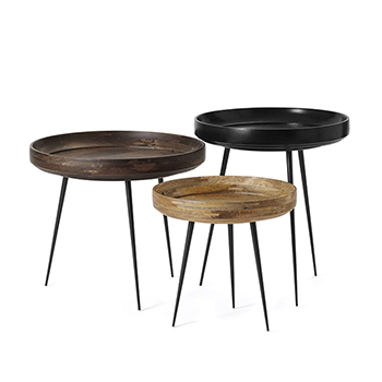mater bowl table series available in three different sizes: large (left), small (in front) and medium (in back, right)