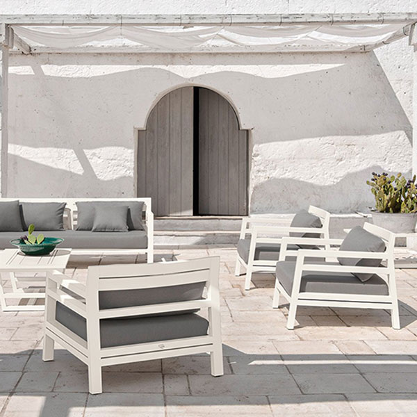 "blend in your setting: two 3-seater sofas, three lounge armchairs and 39"" coffee table (ostuni white mahogany/ nature grey)"