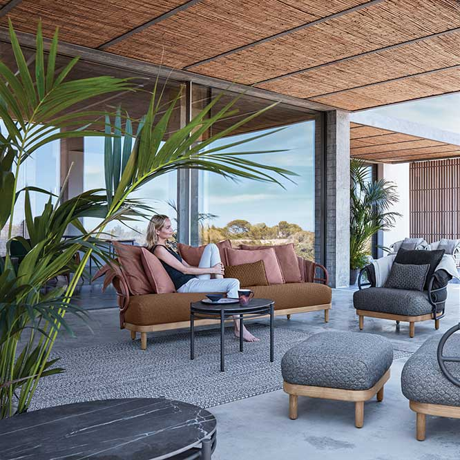 ultimate comfort: dune sofa (fabric variation on combination #3)and two lounge chairs with ottoman (fabric combination #1)image provided courtesy of gloster furniture, inc.