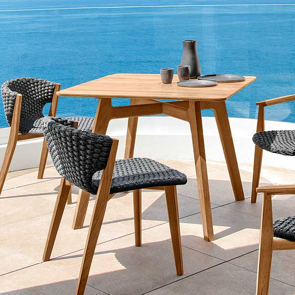 "patio perfection: 2 dining chairs, 2 dining armchairs w/ 35"" square dining table"