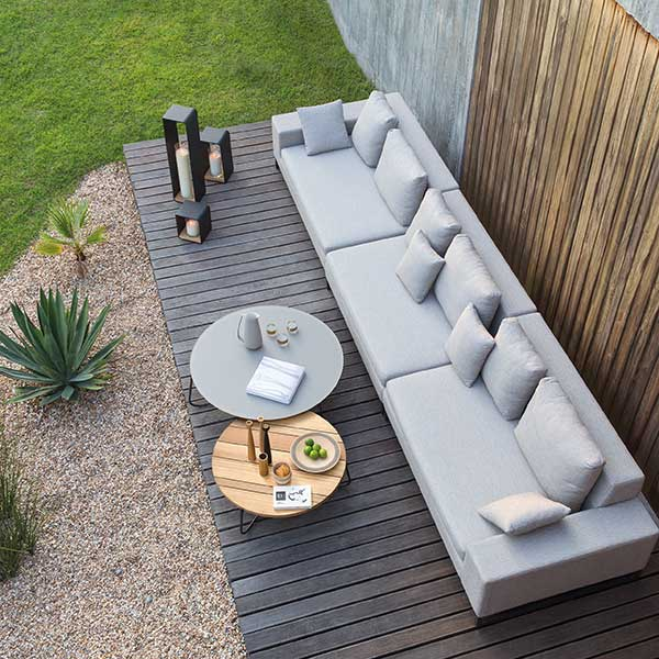maximize your seating: an extra long zendo sofa configuration on a narrow patio works perfectly for more seating and lounging