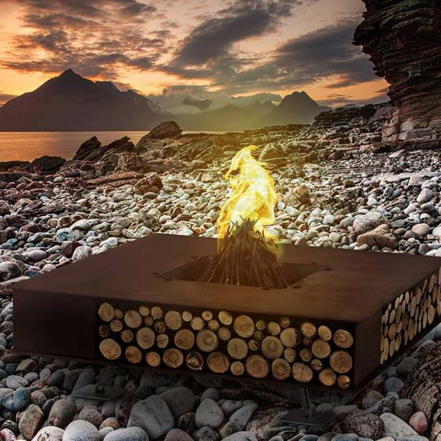get toasty: ak47 design's square fite pit in a stunning setting