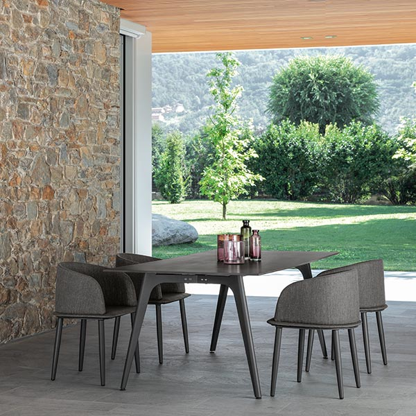 """modern outdoor dining: four cleo padded tub chairs with 87"""" dining table (frame graphite 