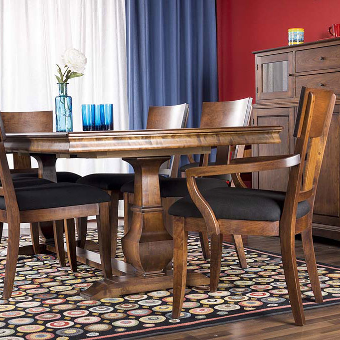 palisade double pedestal table and thea chairs in finish cherry heritage russet