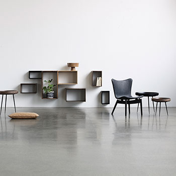 stylish collection: ultra black lounge chair with black oak and mater's bowl tables