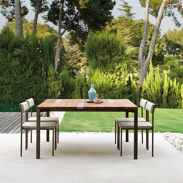 "dining with lots of center space: casilda 59"" square dining table with four casilda dining side chairs (table finish: mocha frame + iroko wood top 