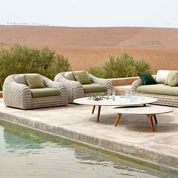 fast to dry: kobo's 3-seater sofa and two 1-seaters in outdoor rope (color: pepper)