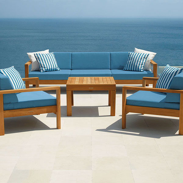"""linear 3-seater settee with two linear armchairs surrounding the linear 30"""" square side table"""