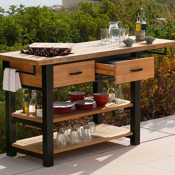 welcome flexibility: titan rustic serving table shown w/ extension